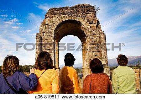 Stock Photography of Roman arch of Caparra (1st.
