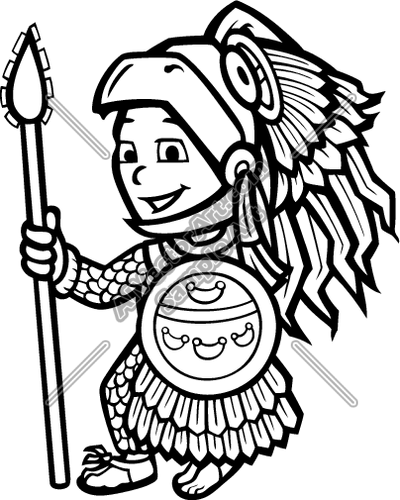 Aztec clipart black and white.
