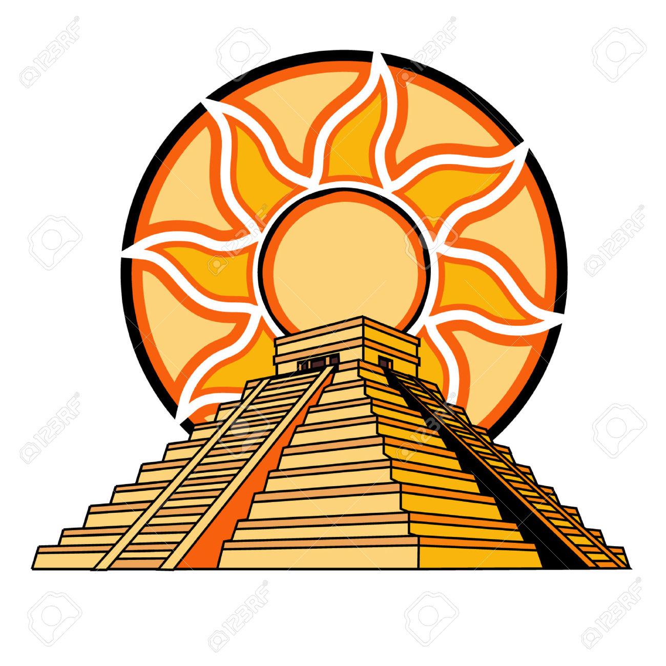 Aztec pyramid clipart.