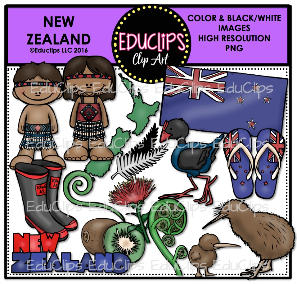 New Zealand Clip Art Bundle (Color and B&W).