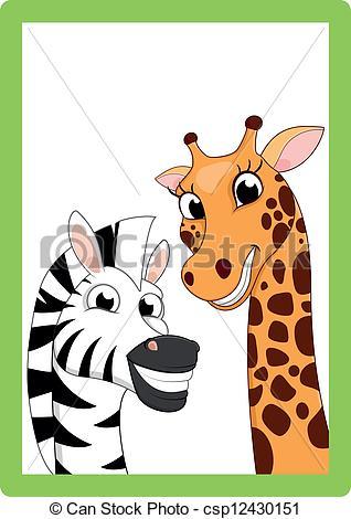Clipart Vector of Happy Zebra And Giraffe On Frame.