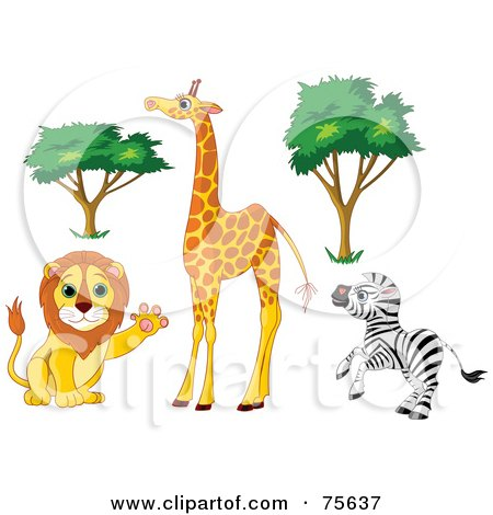 Clipart of a Cute Happy Blue Eyed Baby Giraffe.