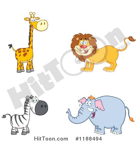 Wildlife Clipart #1188494: Happy Giraffe, Lion, Zebra and Elephant.