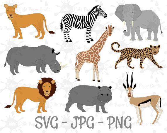 African Safari Animal Clipart, Lion Clipart, Hippo Clipart.