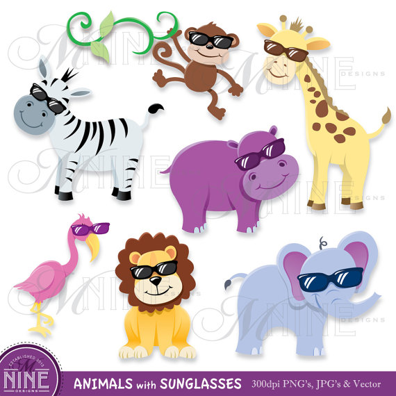 Clipart ANIMALS with SUNGLASSES Clip Art, Instant Download.