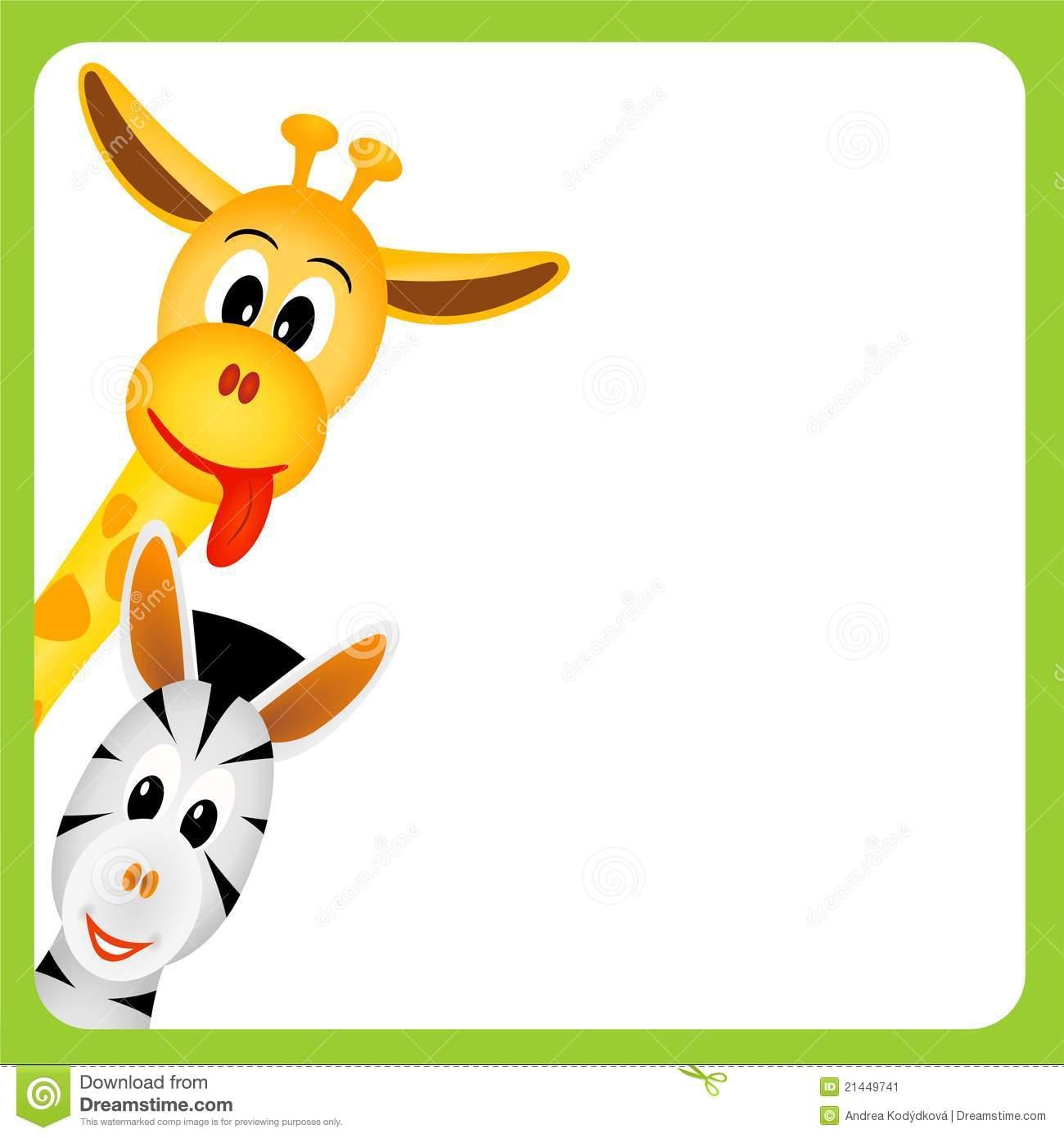 Cute Little Giraffe And Zebra On White Background Stock Image.