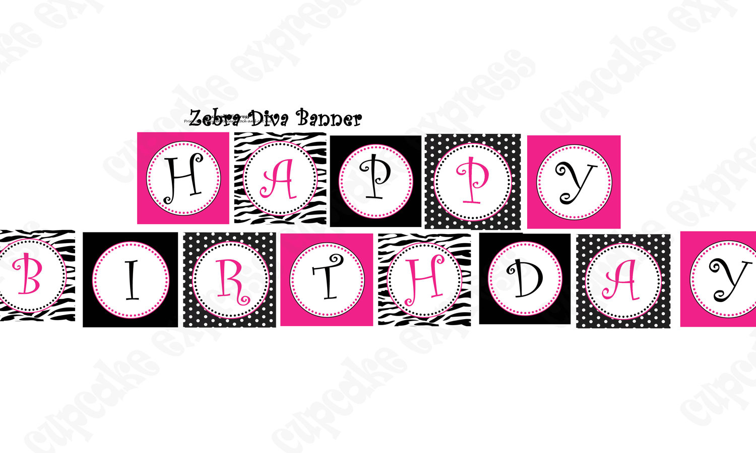 Diva Zebra Birthday Banner Collection PRINTABLE Party Hot.
