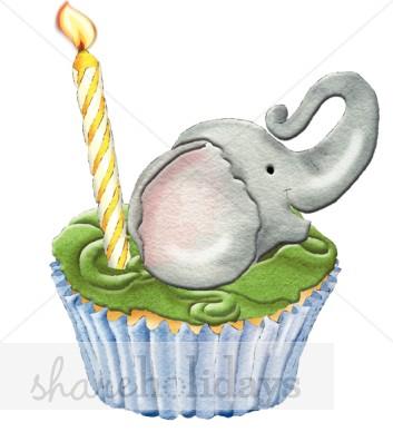 Elephant Cupcake Clipart.