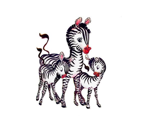 Vintage Birthday Card Zebra 2nd Birthday 1940s JPEG.