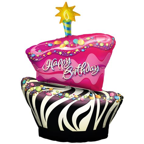 Happy Birthday Balloons And Cake.