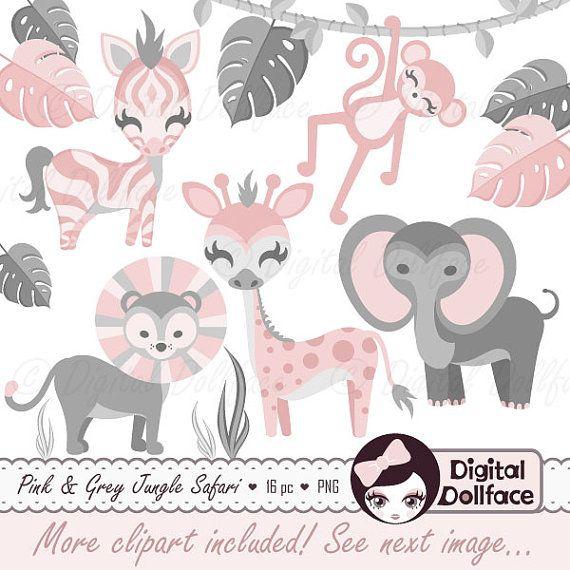 Pink Jungle Baby Shower Clip Art, Zoo Animals, Baby Safari.