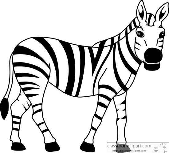 Zebra clipart black and white letters example.