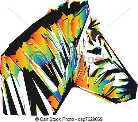 EPS Vectors of color zebra head isolated on the white background.