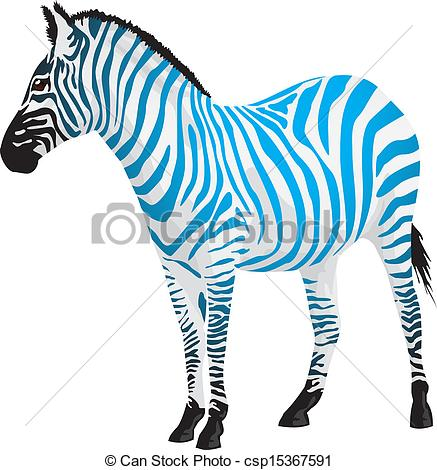 EPS Vectors of Zebra with strips of blue color. Vector.