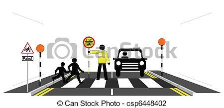 Children zebra crossing clipart.