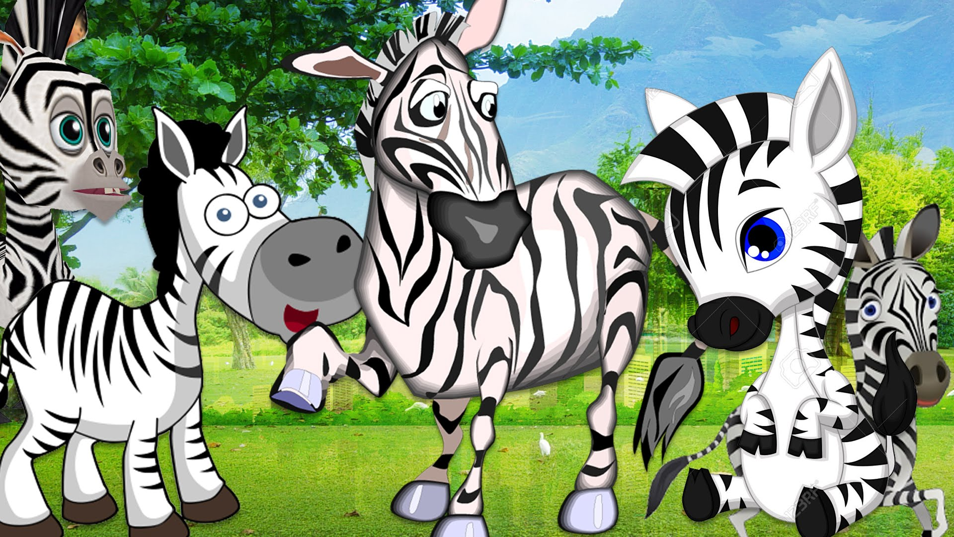 Zebra Cartoons Finger Family Rhymes For Children.