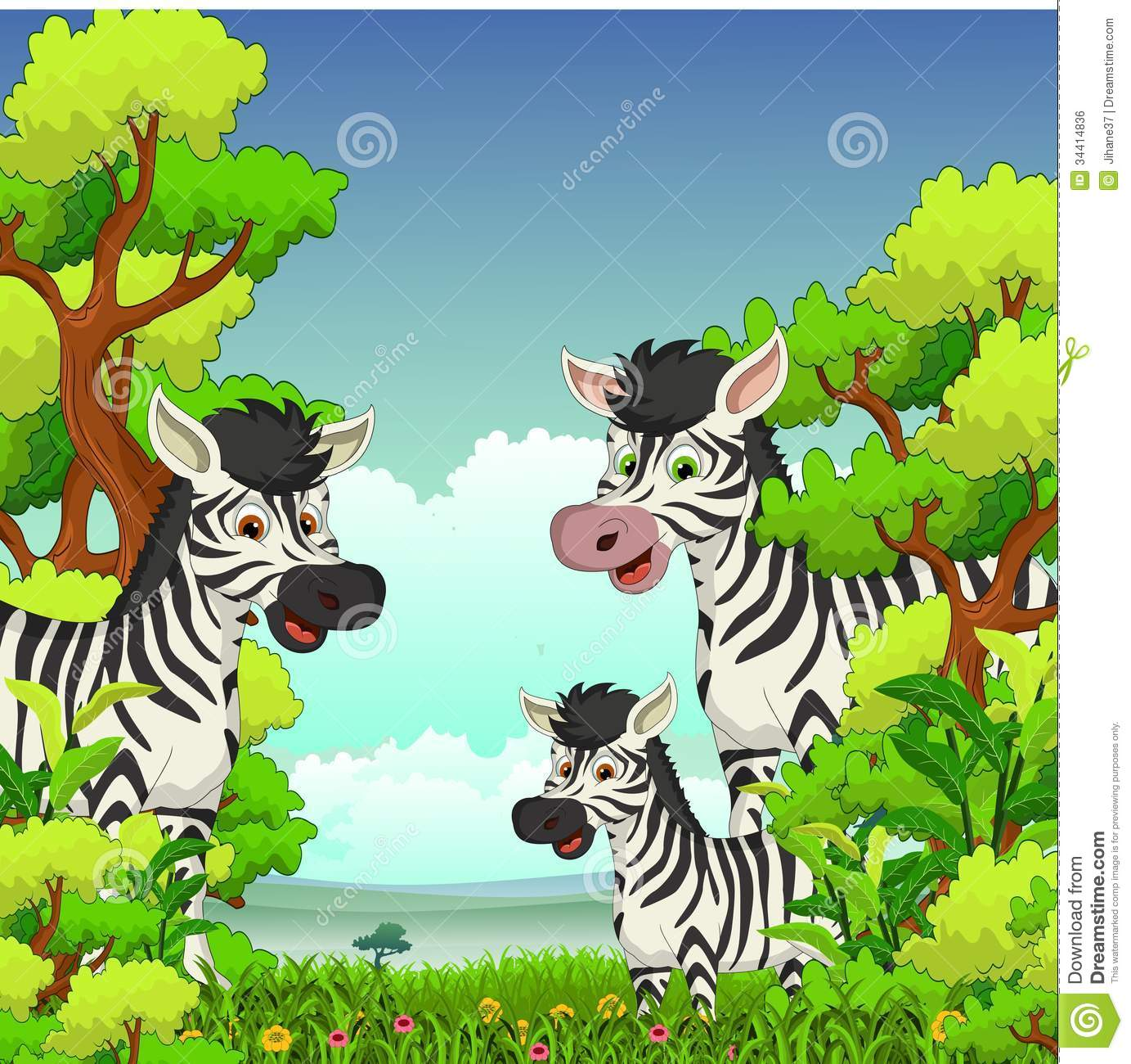 Family Of Zebra Cartoon With Forest Background Royalty Free Stock.