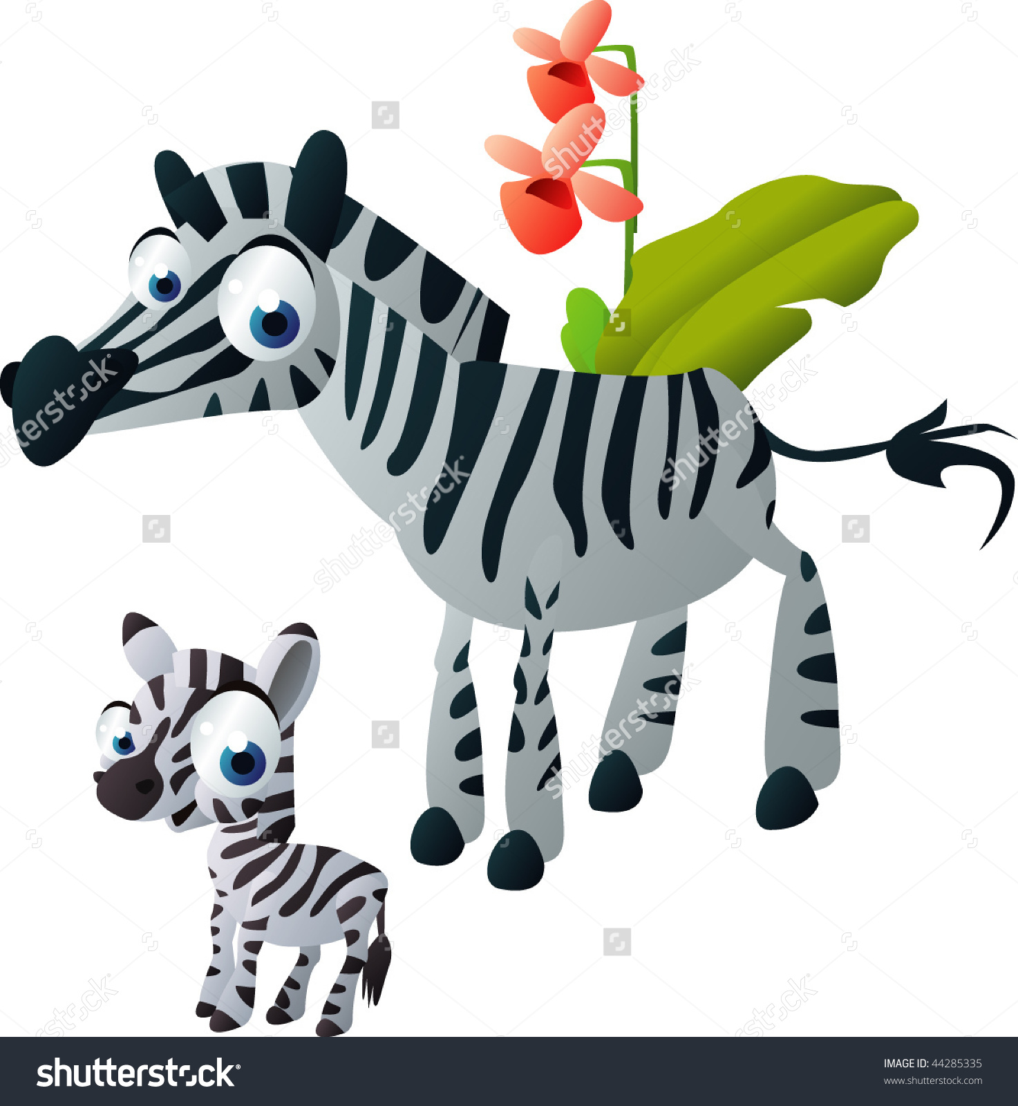 Happy Animals Family: Zebra Stock Vector Illustration 44285335.
