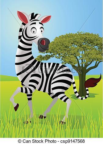 Vector of zebra cartoon in the jungle.