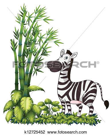 Clipart of A zebra near the bamboo grass k12725452.