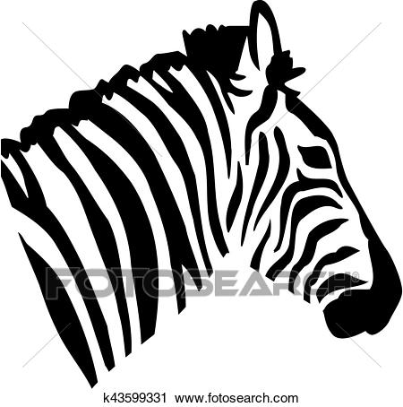Zebra head view from side Clipart.