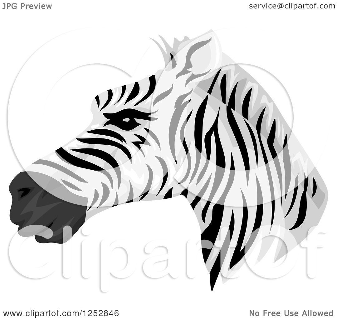 Clipart of a Handsome Zebra Head in Profile.