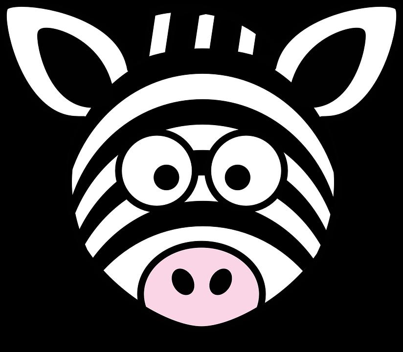 Free vector graphic: Zebra, Head, Stupid, Cartoon, Black.