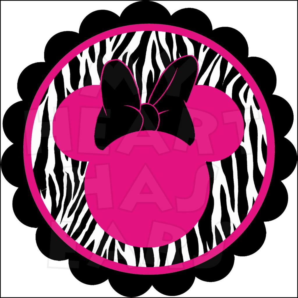 Minnie Mouse Zebra Scalloped INSTANT DOWNLOAD digital clip art.