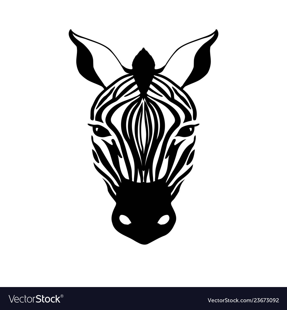Abstract zebra head on a white background.