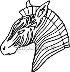 Outline of A Zebra Head.