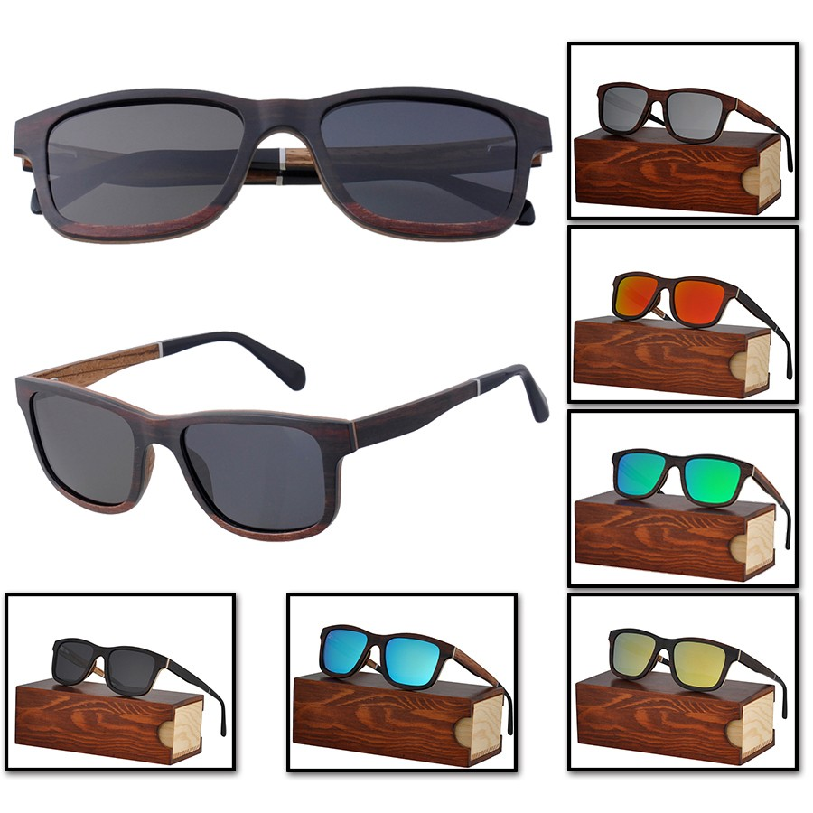HW004 Slim Ebony Zebra Wood Acetate Wooden Sunglasses.