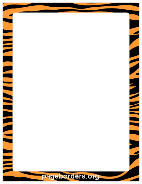 Orange and Black Zebra Print Border: Clip Art, Page Border, and.