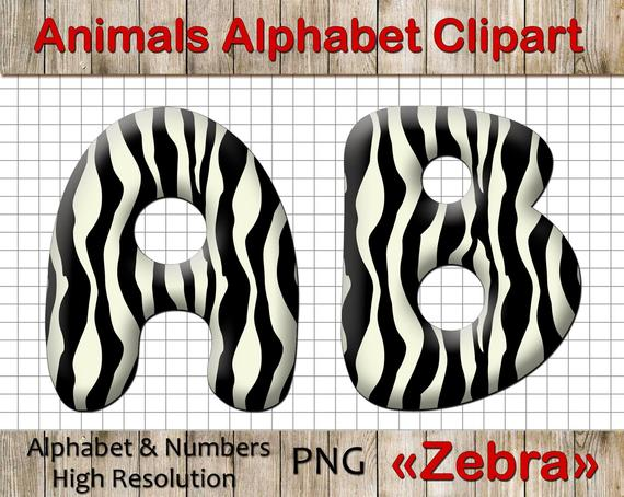 Animal Print Alphabet Clipart, Zebra Print Letters, ABC Zebra Print  Clipart, Animal themed alphabet letters clip art, PNG digital.