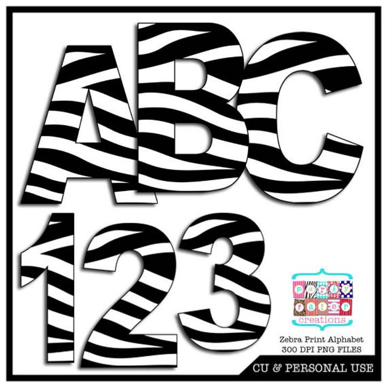 Zebra Print Digital Alphabet and Number Clipart.