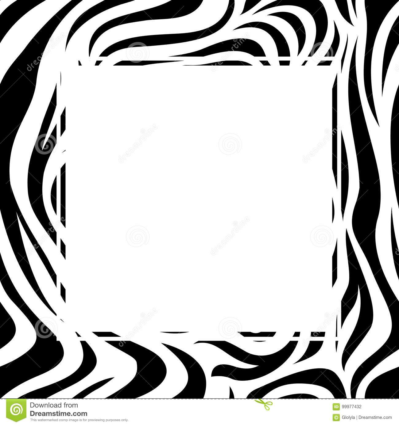 Zebra Print Border Design. Animal Skin Texture. Stock Vector.