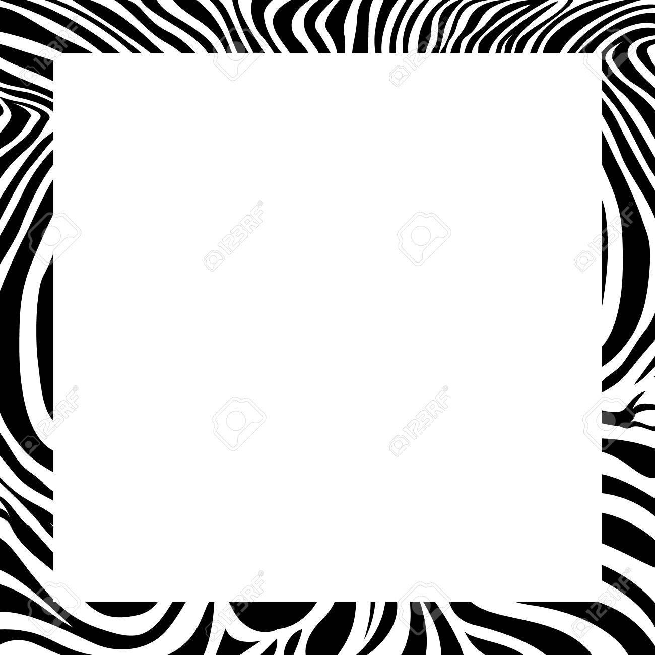 zebra print border, frame design. Animal skin texture. Vector...