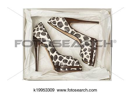 Stock Photograph of animal print high heel shoes in box k19953309.