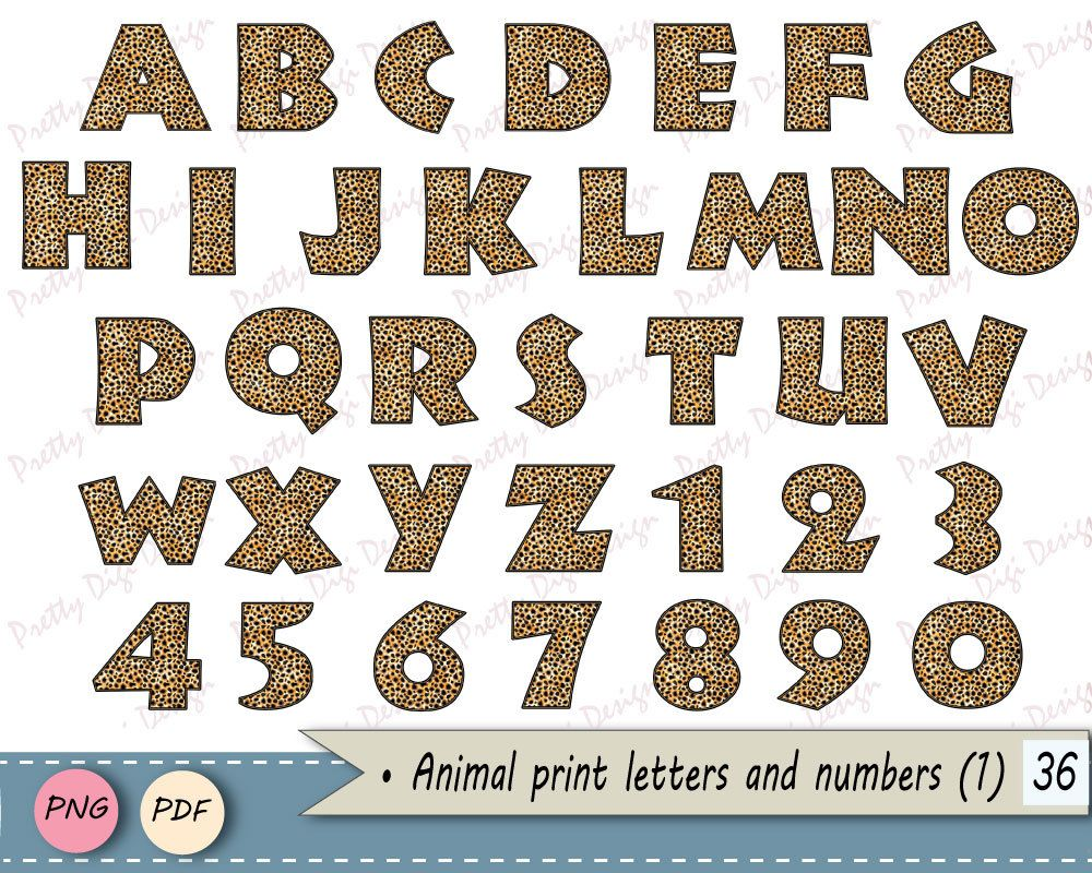 Animal print Alphabet, Digital letters and numbers, clip art.