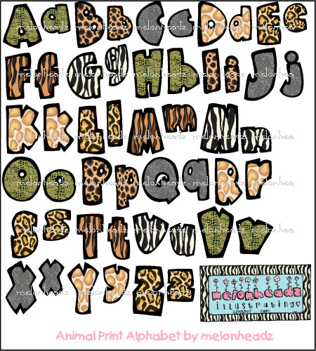 6 Animal Print Letters Font Images.