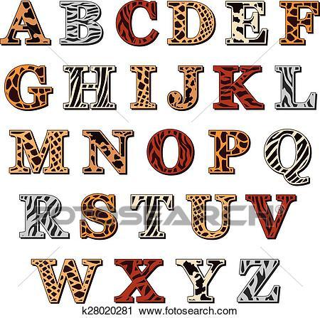 Latin alphabet with animal print Clipart.