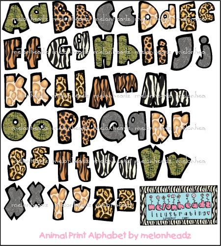 Zebra Print Letters Clipart.