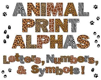 Zebra Print Alphabet Clipart.