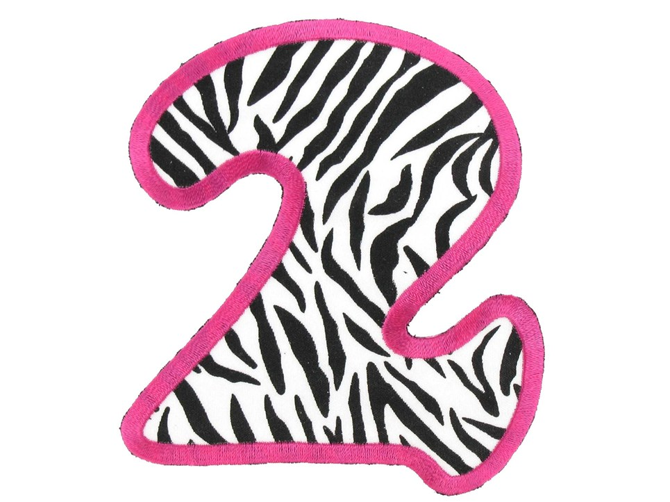animal print numbers clipart #3