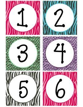 Zebra Print Calendar Numbers or math tub numbers??.
