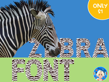 Zebra Animal Print Letters and Numbers Font Clip Art.