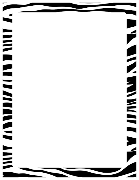 Zebra print page border. Free image and PDF downloads at http.