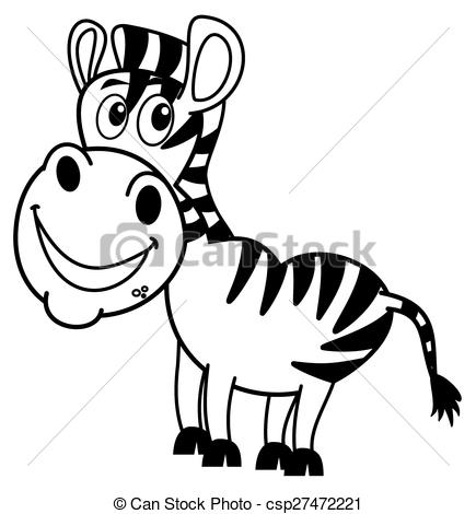 Vector Illustration of smiling zebra profile for coloring.