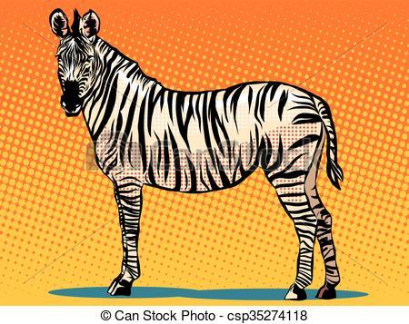 Vector Clip Art of African Zebra animal pop art retro style.