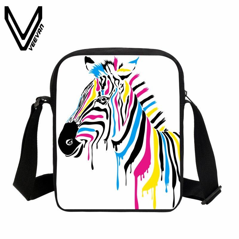 VEEVANV Casual Men Messenger Bag 3D Zebra Printing Handbags.