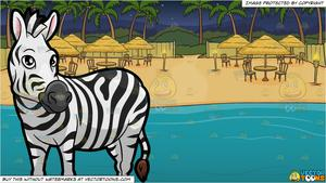A Zebra Looking Off To The Side and A Beach View Dinner Site Background.